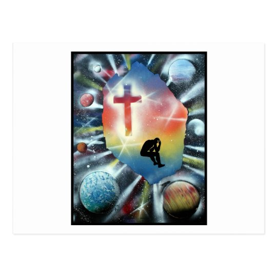 Forlorn Figure Colorful Universe Cross Postcard