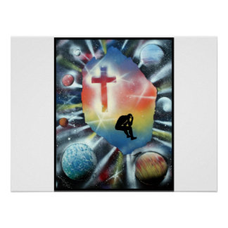 Forlorn Figure Colorful Universe Cross Poster