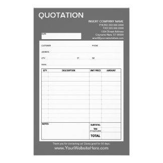 """Form - Business Quotation or Invoice 5.5"""" X 8.5"""" Flyer"""
