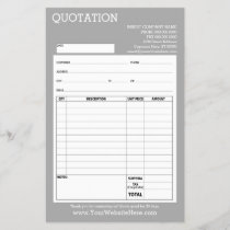 Form - Business Quotation or Invoice - Light Gray