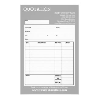 """Form - Business Quotation or Invoice - Light Gray 5.5"""" X 8.5"""" Flyer"""