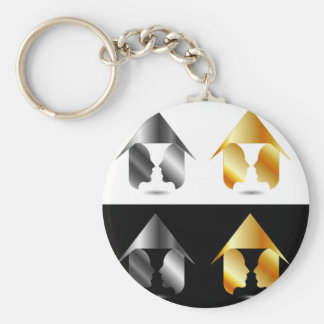 Form of vase created from 2 faces inside a house basic round button keychain