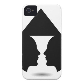Form of vase created from 2 faces inside a house iPhone 4 case