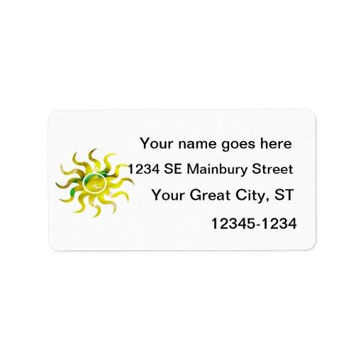 Forma 2 del recorte del sol del amarillo de la pil etiqueta de dirección