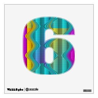 Forma 6 de los números - modelo coloreado divertid vinilo decorativo