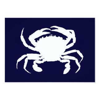 """Forma azul marino y blanca del cangrejo invitación 5"""" x 7"""""""