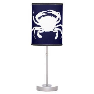 Forma azul marino y blanca del cangrejo lámpara de mesilla de noche