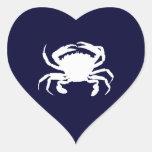 Forma azul marino y blanca del cangrejo calcomanías corazones