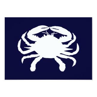 Forma azul y blanca del cangrejo invitación 12,7 x 17,8 cm