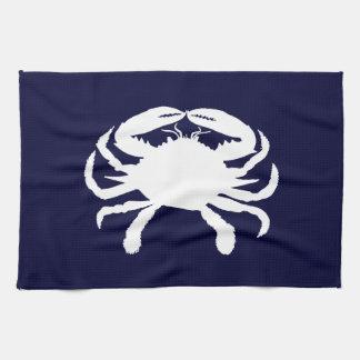 Forma azul y blanca del cangrejo toalla de cocina
