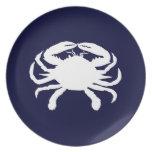 Forma azul y blanca del cangrejo platos de comidas