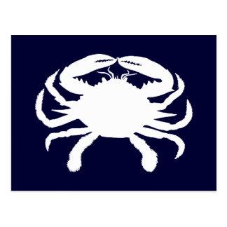 Forma azul y blanca del cangrejo postal