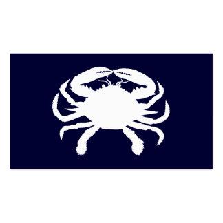 Forma azul y blanca del cangrejo plantillas de tarjetas personales