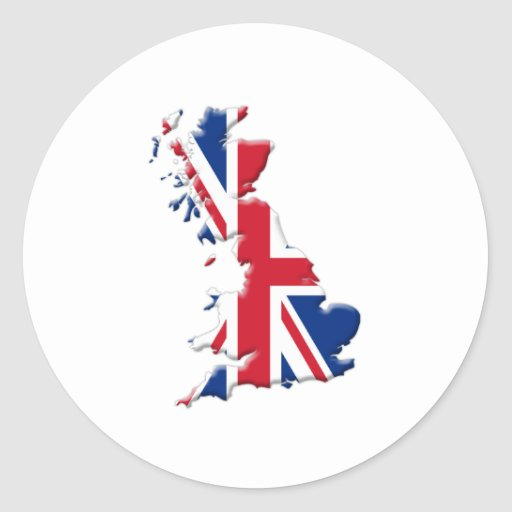 Forma-Bandera de Gran Bretaña Pegatina Redonda