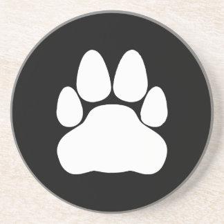 Forma blanca de la impresión de la pata del gato posavasos personalizados