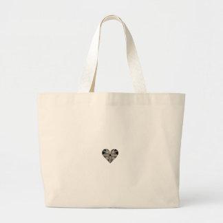 Forma blanco y negro del corazón del arte del frac bolsa tela grande