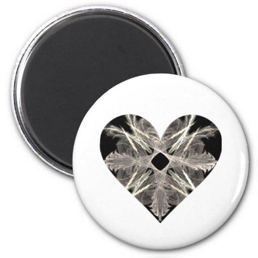 Forma blanco y negro del corazón del arte del frac imán de frigorífico