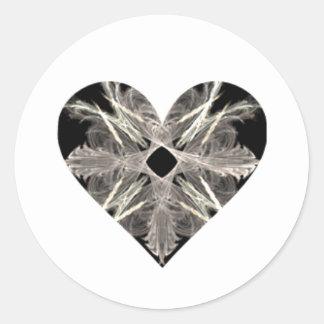 Forma blanco y negro del corazón del arte del pegatina redonda
