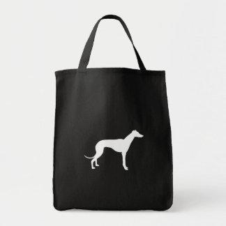 Forma blanco y negro del galgo bolsa tela para la compra