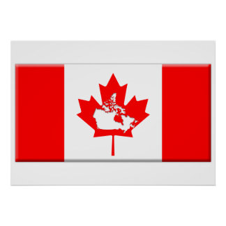 Forma canadiense de la bandera y del país poster