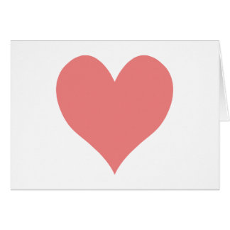 Forma coralina ligera del corazón tarjeta pequeña