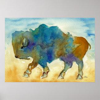Forma de arte estilizada del búfalo occidental impresiones