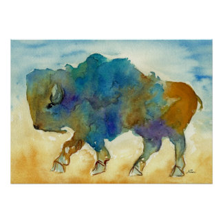 Forma de arte estilizada del búfalo occidental póster