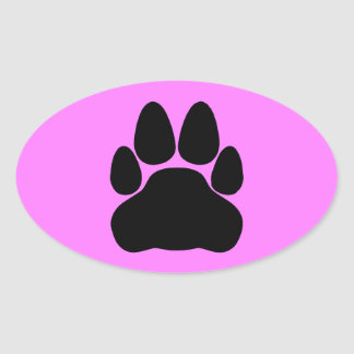 Forma de la impresión de la pata del gato negro pegatina ovalada