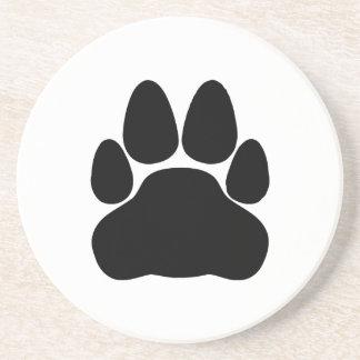 Forma de la impresión de la pata del gato negro posavasos personalizados