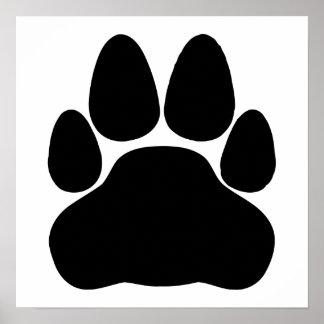 Forma de la impresión de la pata del gato negro póster