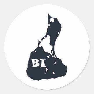 Forma de la isla del BI del Block Island Pegatina Redonda