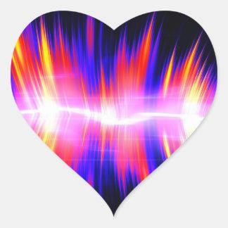 Forma de onda audio abstracta de Mullticolored Pegatina En Forma De Corazón