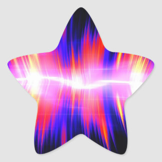Forma de onda audio abstracta de Mullticolored Pegatina En Forma De Estrella