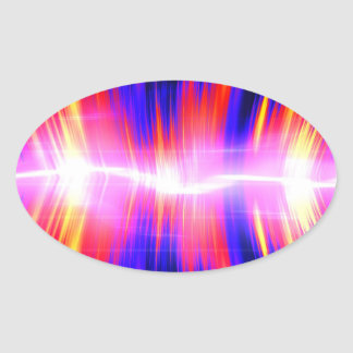 Forma de onda audio abstracta de Mullticolored Pegatina Ovalada