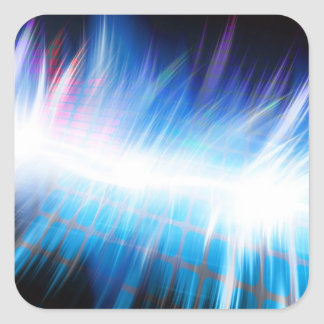 Forma de onda audio que brilla intensamente pegatina cuadrada