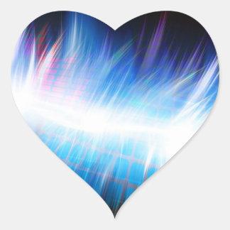 Forma de onda audio que brilla intensamente pegatina en forma de corazón