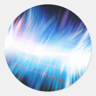Forma de onda audio que brilla intensamente pegatina redonda