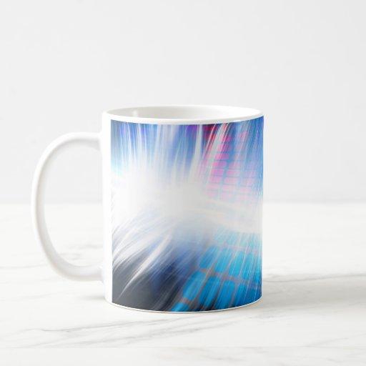 Forma de onda audio que brilla intensamente taza de café