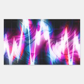 Forma de onda enrrollada del audio del gráfico EQ Pegatina Rectangular