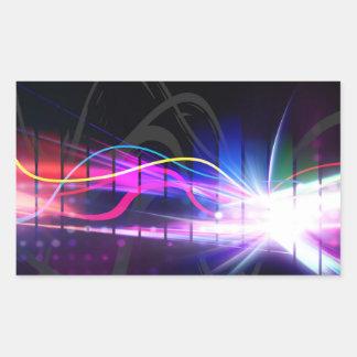 Forma de onda musical del arco iris pegatina rectangular