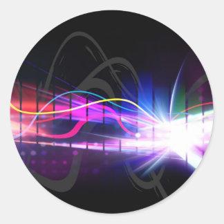 Forma de onda musical del arco iris pegatina redonda