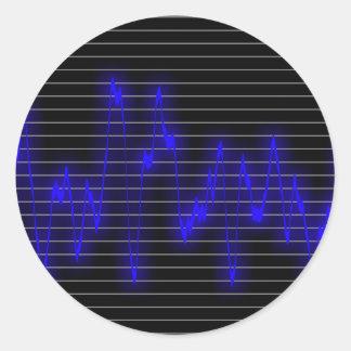 Forma de onda musical pegatina redonda
