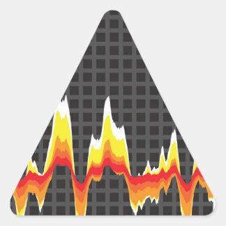 Forma de onda roja ardiente pegatina triangular