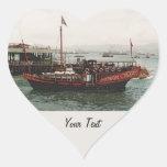 Forma de oro del corazón de Hong Kong del Pegatina En Forma De Corazón