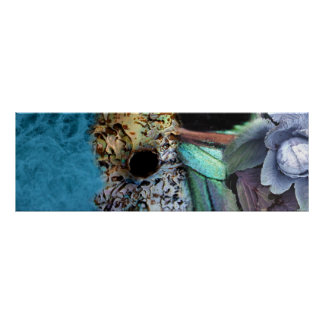 """""""Forma de vida del kiwi"""" - un tacto del azul Póster"""