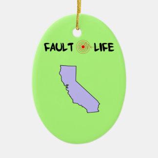 Forma de vida del terremoto de California de la Adorno Navideño Ovalado De Cerámica