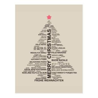 Forma del árbol de navidad de las letras - postales