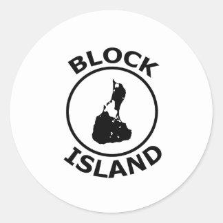 Forma del Block Island dentro del círculo Pegatina Redonda