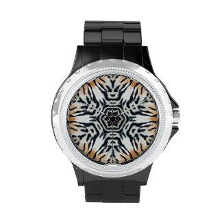 Forma del copo de nieve - tigre - reloj del estamp