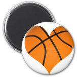 Forma del corazón del baloncesto iman para frigorífico